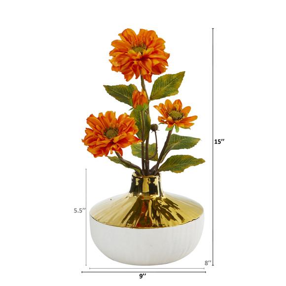 15 Zinnia Artificial Arrangement in Gold and Cream Elegant Vase - SKU #A1144 - 3