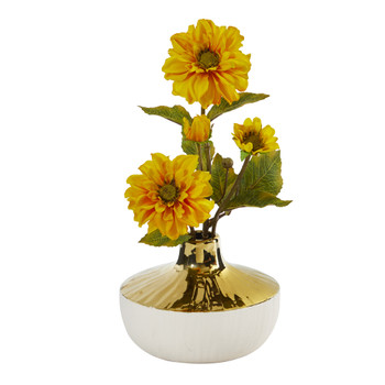 15 Zinnia Artificial Arrangement in Gold and Cream Elegant Vase - SKU #A1144