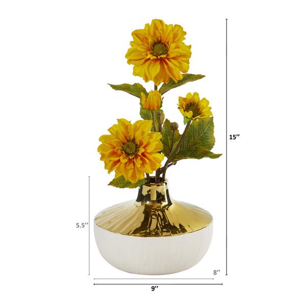 15 Zinnia Artificial Arrangement in Gold and Cream Elegant Vase - SKU #A1144 - 1
