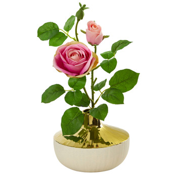 16 Rose Artificial Arrangement in Gold and Cream Elegant Vase - SKU #A1145-PK