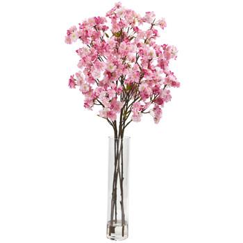 37 Cherry Blossom Artificial Arrangement in Glass Vase - SKU #A1149-PK