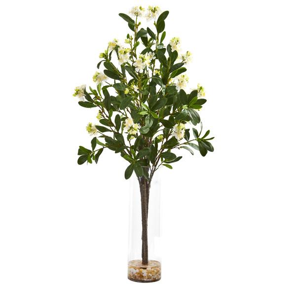 44 Peach Blossom Artificial Arrangement in Glass Vase - SKU #A1150