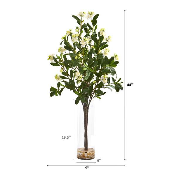 44 Peach Blossom Artificial Arrangement in Glass Vase - SKU #A1150 - 1
