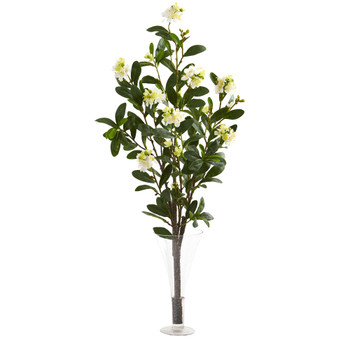 39 Peach Blossom Artificial Arrangement in Flared Vase - SKU #A1151