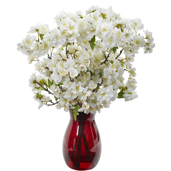 18 Cherry Blossom Artificial Arrangement in Ruby Vase - SKU #A1152-WH