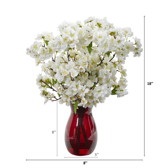 18 Cherry Blossom Artificial Arrangement in Ruby Vase - SKU #A1152-WH - 1