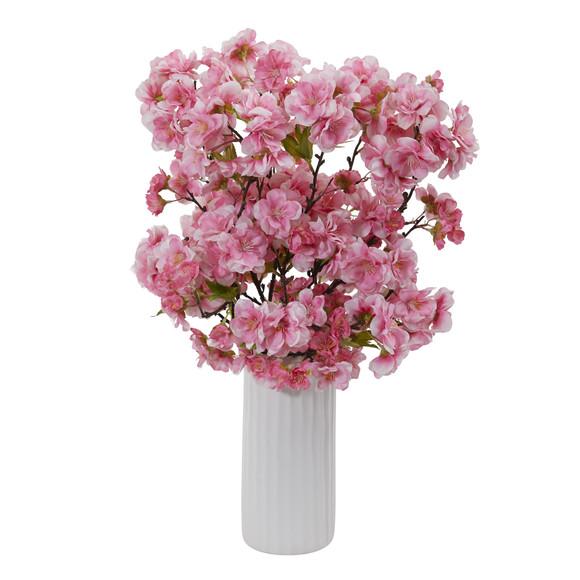 18 Cherry Blossom Artificial Arrangement in White Vase - SKU #A1153