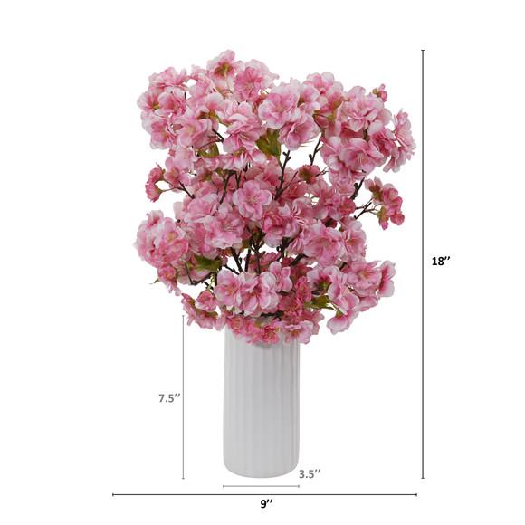 18 Cherry Blossom Artificial Arrangement in White Vase - SKU #A1153 - 1