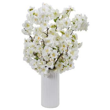 18 Cherry Blossom Artificial Arrangement in White Vase - SKU #A1153-WH