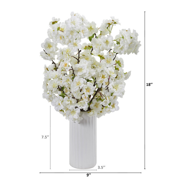 18 Cherry Blossom Artificial Arrangement in White Vase - SKU #A1153 - 3