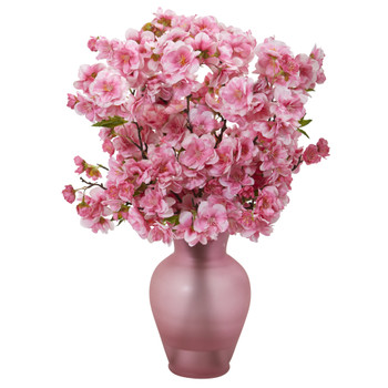 18 Cherry Blossom Artificial Arrangement in Rose Colored Vase - SKU #A1154-PK