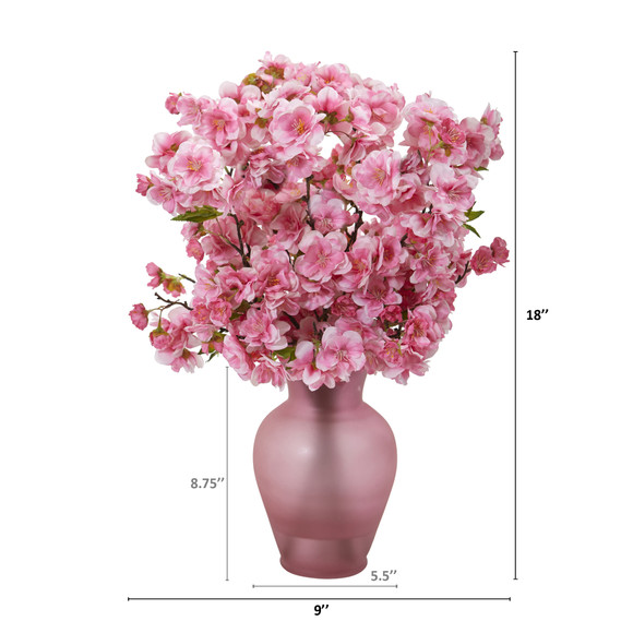 18 Cherry Blossom Artificial Arrangement in Rose Colored Vase - SKU #A1154 - 1