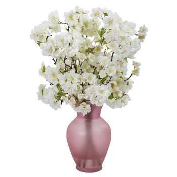 18 Cherry Blossom Artificial Arrangement in Rose Colored Vase - SKU #A1154-WH