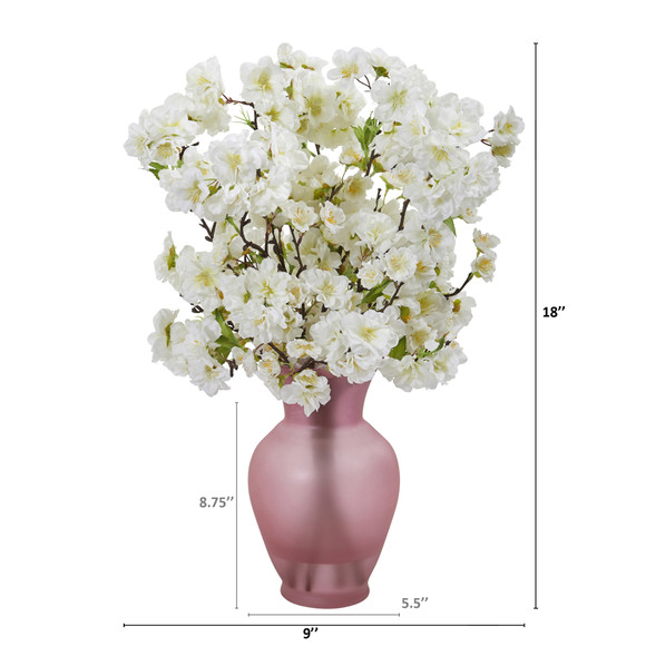 18 Cherry Blossom Artificial Arrangement in Rose Colored Vase - SKU #A1154 - 3