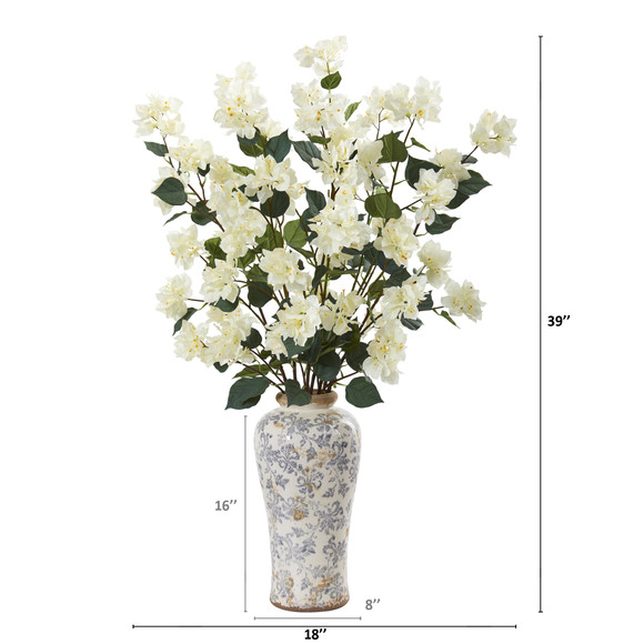 39 Bougainvillea Artificial Arrangement in Decorative Vase - SKU #A1155 - 3