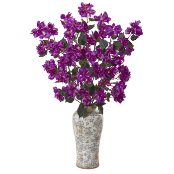 39 Bougainvillea Artificial Arrangement in Decorative Vase - SKU #A1155