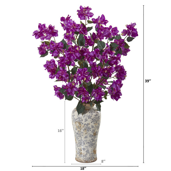 39 Bougainvillea Artificial Arrangement in Decorative Vase - SKU #A1155 - 1