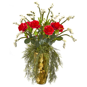 25 Rose Artificial Arrangement in Designer Gold Vase - SKU #A1156-RW