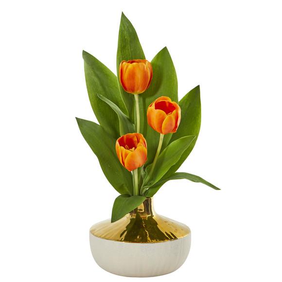 18 Tulip Artificial Arrangement in Gold and Cream Elegant Vase - SKU #A1157 - 7