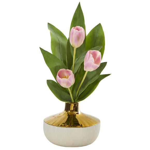18 Tulip Artificial Arrangement in Gold and Cream Elegant Vase - SKU #A1157 - 2