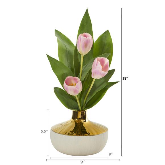 18 Tulip Artificial Arrangement in Gold and Cream Elegant Vase - SKU #A1157 - 3
