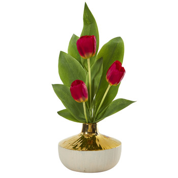 18 Tulip Artificial Arrangement in Gold and Cream Elegant Vase - SKU #A1157