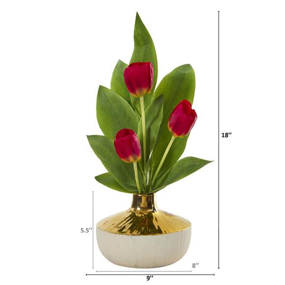 18 Tulip Artificial Arrangement in Gold and Cream Elegant Vase - SKU #A1157 - 1