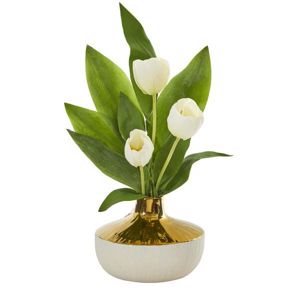 18 Tulip Artificial Arrangement in Gold and Cream Elegant Vase - SKU #A1157 - 4