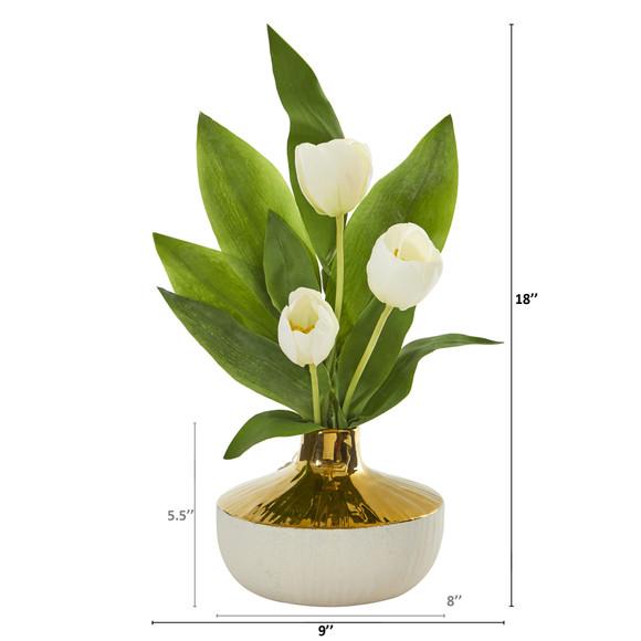 18 Tulip Artificial Arrangement in Gold and Cream Elegant Vase - SKU #A1157 - 5