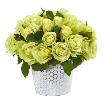 11 Rose Artificial Arrangement in Embossed White Planter - SKU #A1158-GR