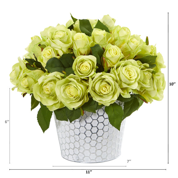 11 Rose Artificial Arrangement in Embossed White Planter - SKU #A1158 - 3