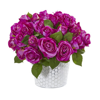 11 Rose Artificial Arrangement in Embossed White Planter - SKU #A1158