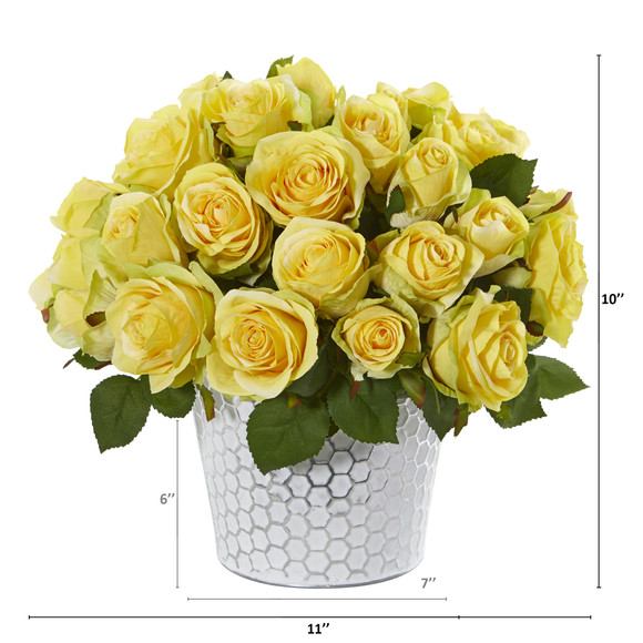 11 Rose Artificial Arrangement in Embossed White Planter - SKU #A1158 - 1