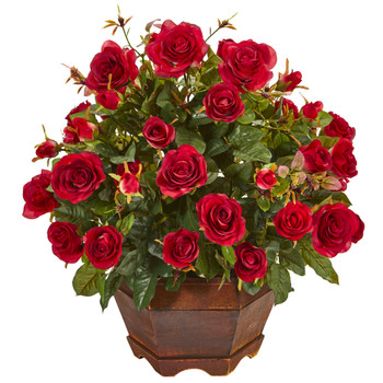 20 Garden Rose Artificial Arrangement in Decorative Vase - SKU #A1159-RD