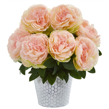 15 Peony Artificial Arrangement in Embossed White Vase - SKU #A1160-PK