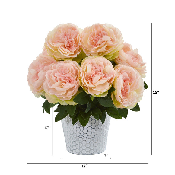 15 Peony Artificial Arrangement in Embossed White Vase - SKU #A1160-PK - 1