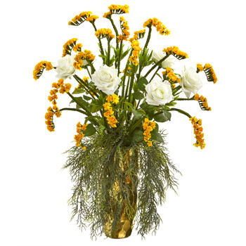 25 Rose Artificial Arrangement in Designer Gold Vase - SKU #A1161