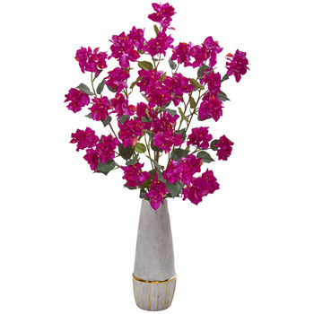 39 Bougainvillea Artificial Arrangement in Stoneware Vase - SKU #A1162