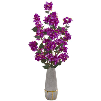 39 Bougainvillea Artificial Arrangement in Stoneware Vase - SKU #A1162-PP