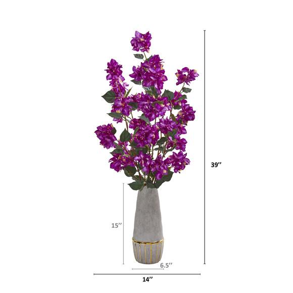 39 Bougainvillea Artificial Arrangement in Stoneware Vase - SKU #A1162-PP - 1