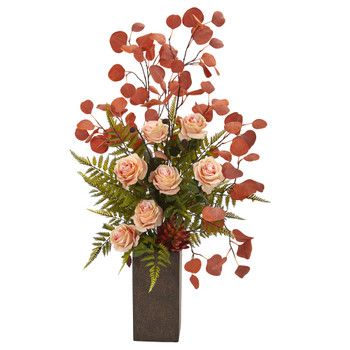 33 Rose Eucalyptus and Fern Artificial Arrangement in Weathered Brown Planter - SKU #A1163