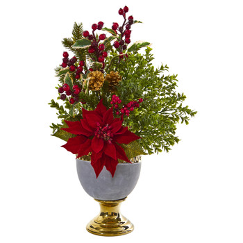 23 Poinsettia and Boxwood Artificial Arrangement in Stoneware Urn with Gold Trimming - SKU #A1164