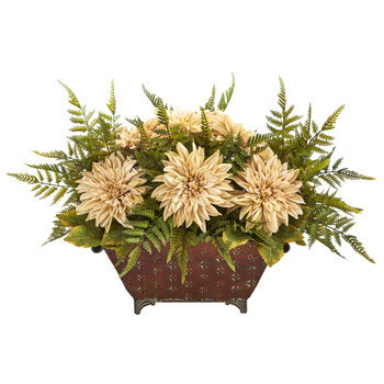 24 Dahlia and Fern Artificial Arrangement in Metal Planter - SKU #A1165-CR
