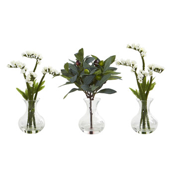 10 Baby Breath and Olive Artificial Arrangement in Vase Set of 3 - SKU #A1166-S3