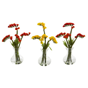 10 Baby Breath Artificial Arrangement in Vase Set of 3 - SKU #A1167-S3