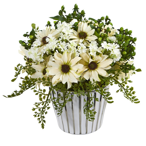 10 Mixed Daisy Artificial Arrangement in White Vase Silver Trimming - SKU #A1169 - 2