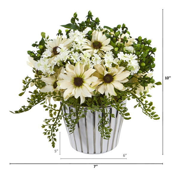 10 Mixed Daisy Artificial Arrangement in White Vase Silver Trimming - SKU #A1169 - 3