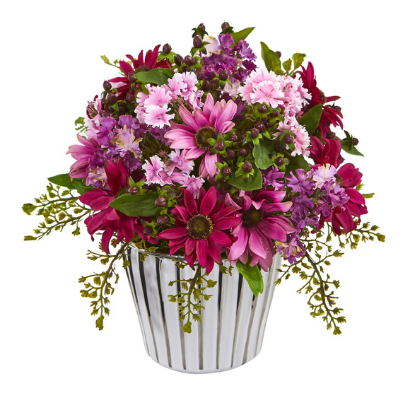 10 Mixed Daisy Artificial Arrangement in White Vase Silver Trimming - SKU #A1169