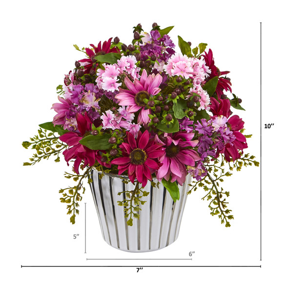 10 Mixed Daisy Artificial Arrangement in White Vase Silver Trimming - SKU #A1169 - 1