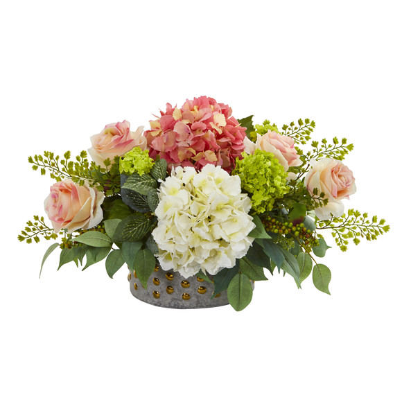 16.5 Rose Hydrangea and Maiden Hair Artificial Arrangement in Bowl with Gold Trimming - SKU #A1170